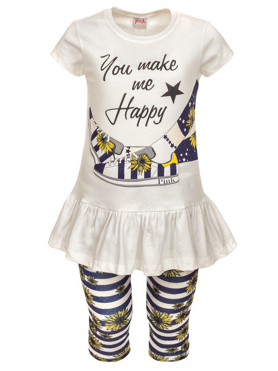 Комплект для девочки: туника и лосины, цвет: молочный