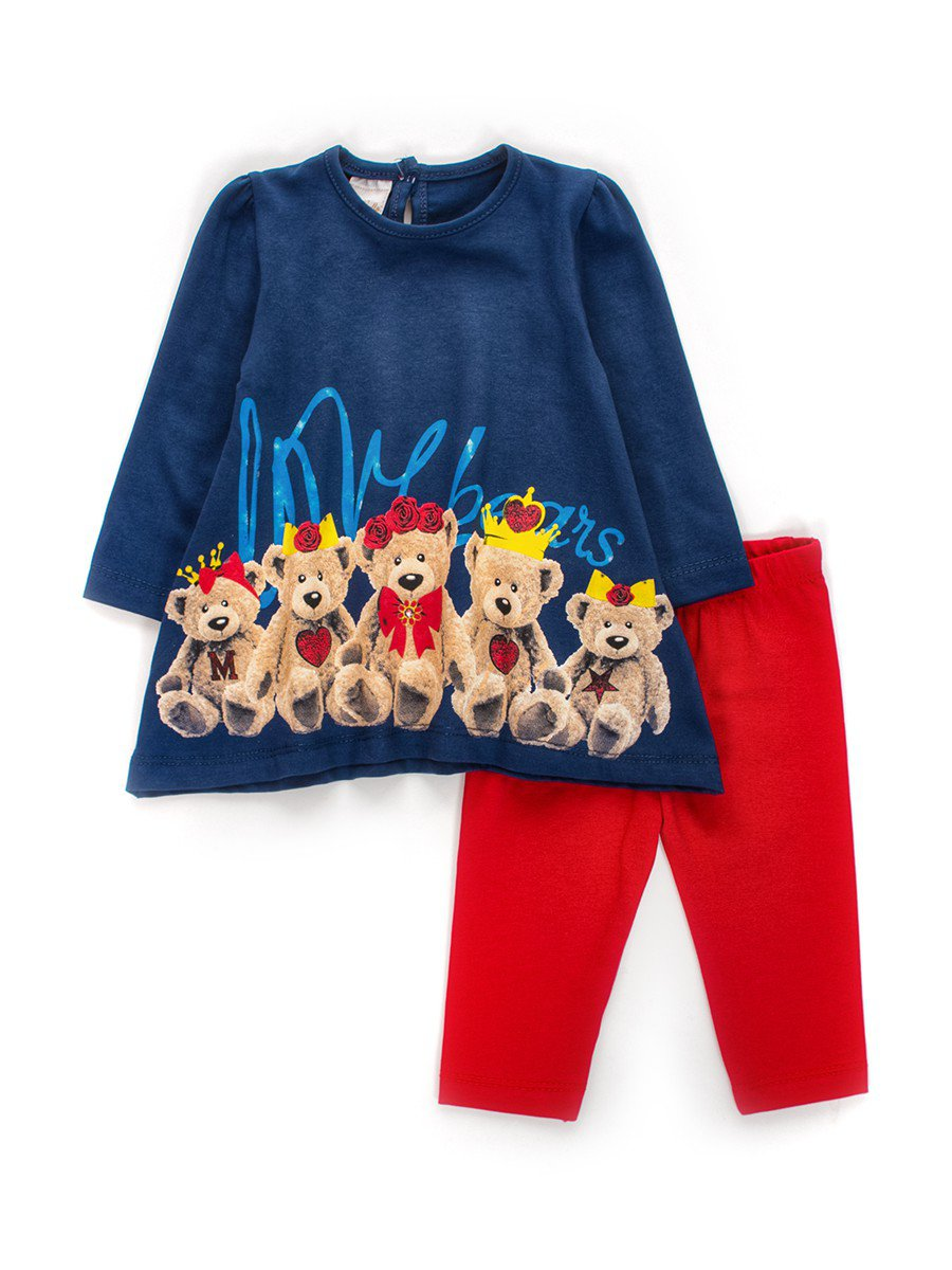 Комплект для девочки: туника и лосины, цвет: темно-синий
