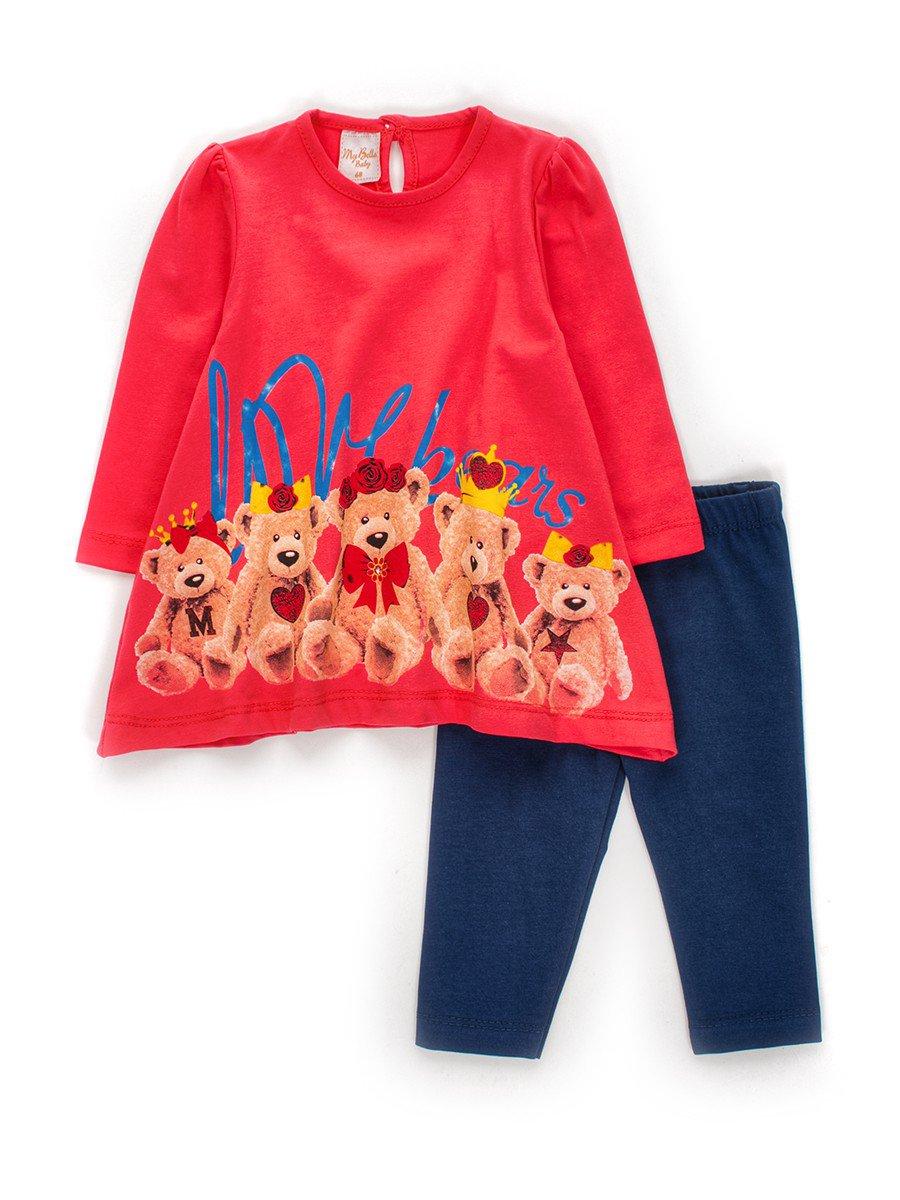 Комплект для девочки: туника и лосины, цвет: коралловый