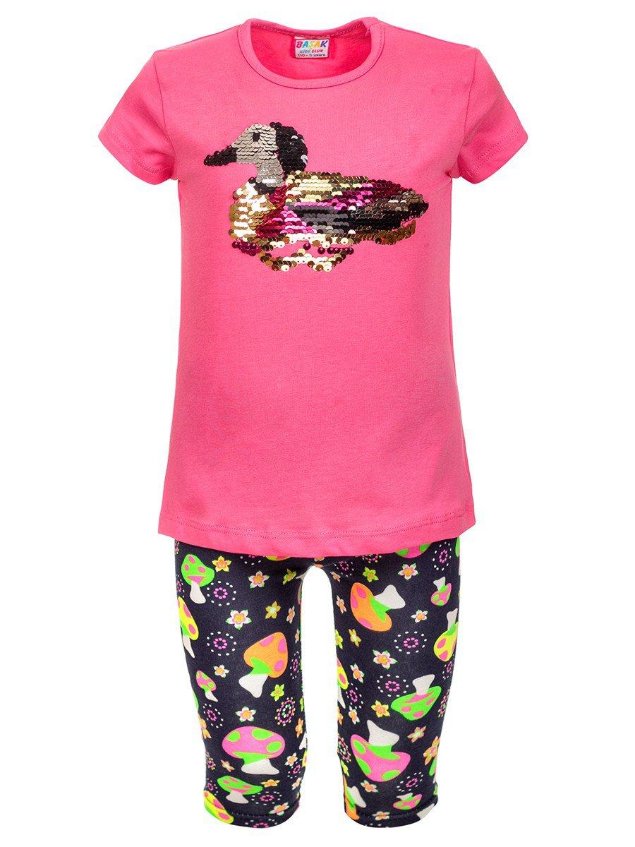 Комплект: футболка и лосины, цвет: розовый