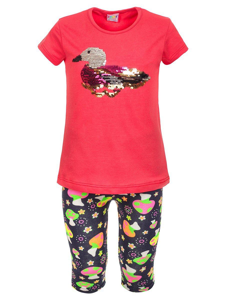 Комплект: футболка и лосины, цвет: коралловый