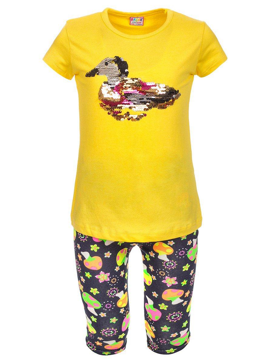 Комплект: футболка и лосины, цвет: желтый