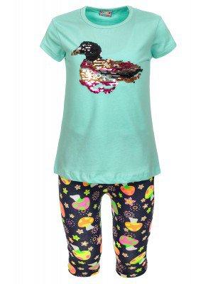 Комплект для девочки: футболка и лосины, декорирован двусторонними пайетками