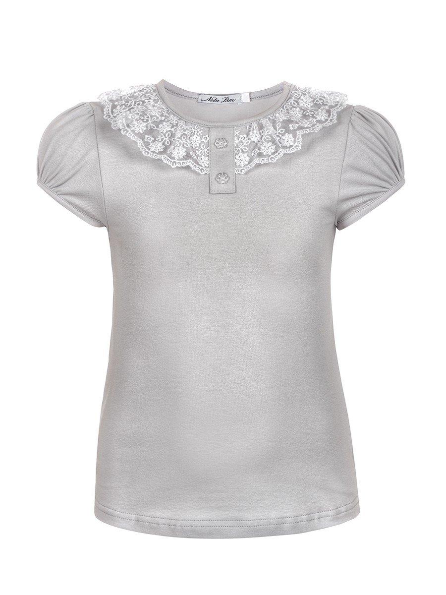 Блуза для девочки с кружевной тесьмой, цвет: серый