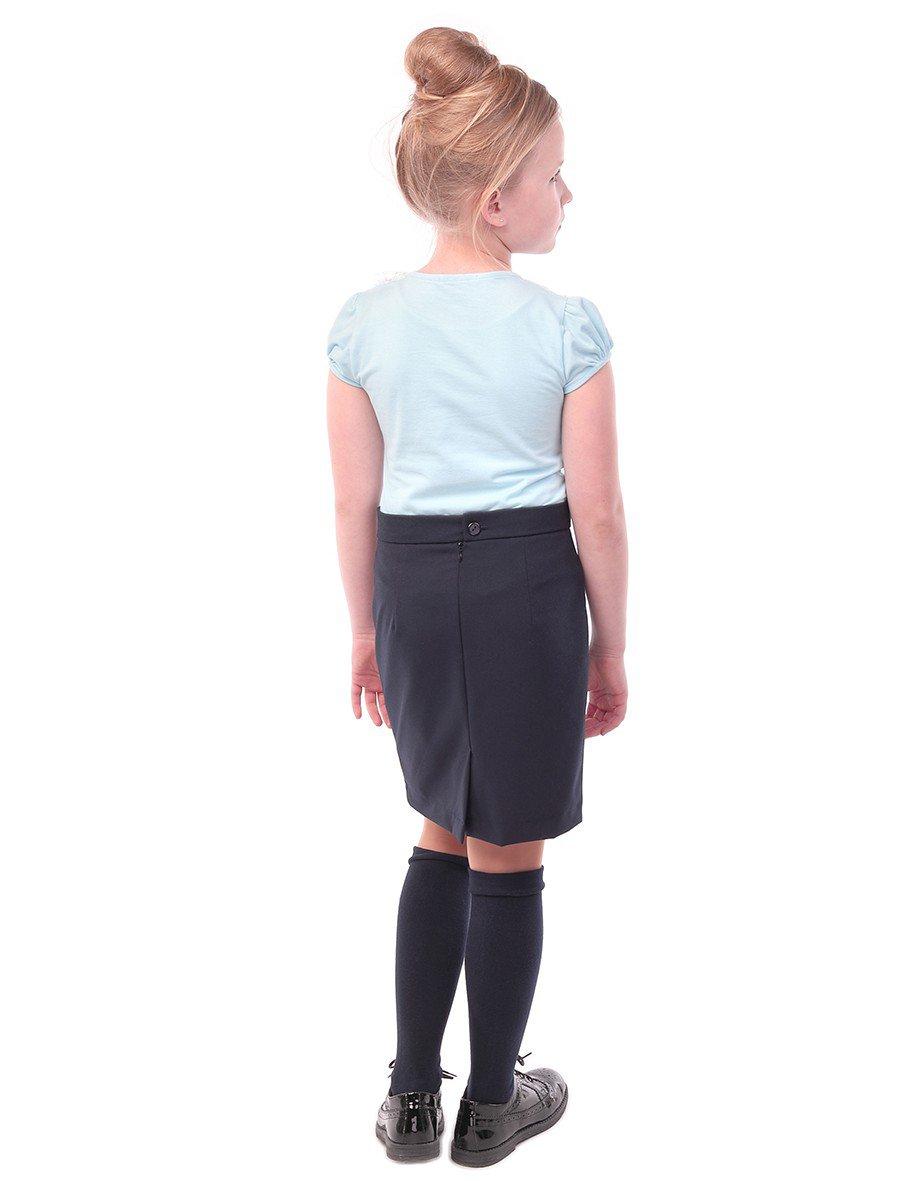 Блуза для девочки с кружевной тесьмой, цвет: голубой