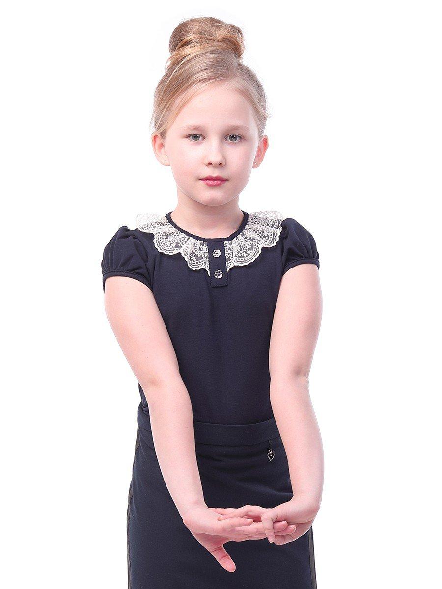 Блуза для девочки с кружевной тесьмой, цвет: темно-синий