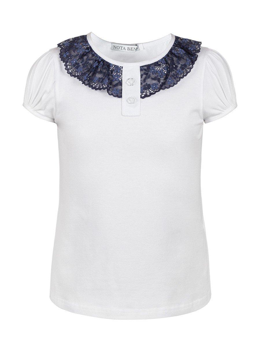 Блуза для девочки с кружевной тесьмой, цвет: белый