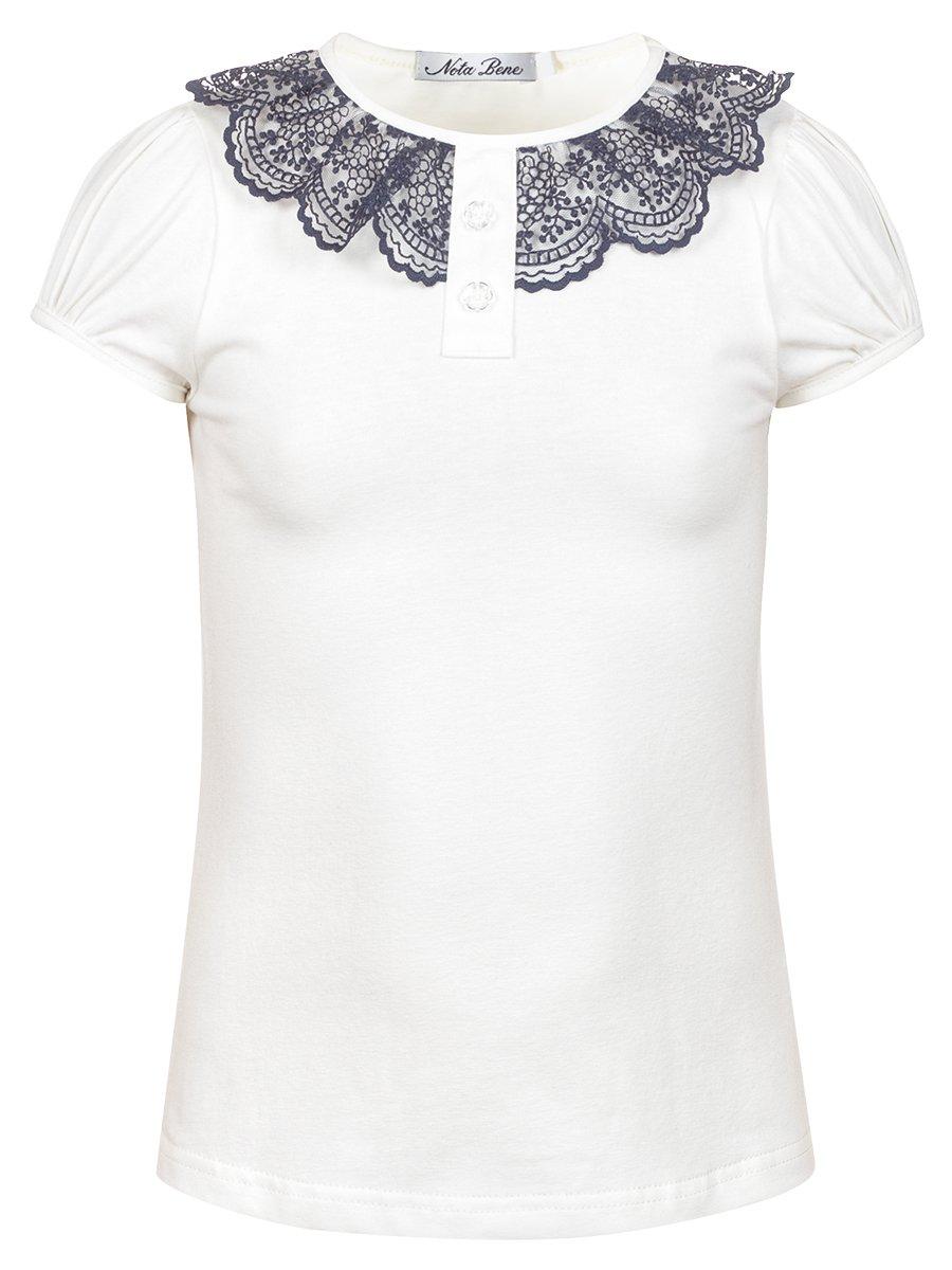 Блуза для девочки с кружевной тесьмой, цвет: молочный