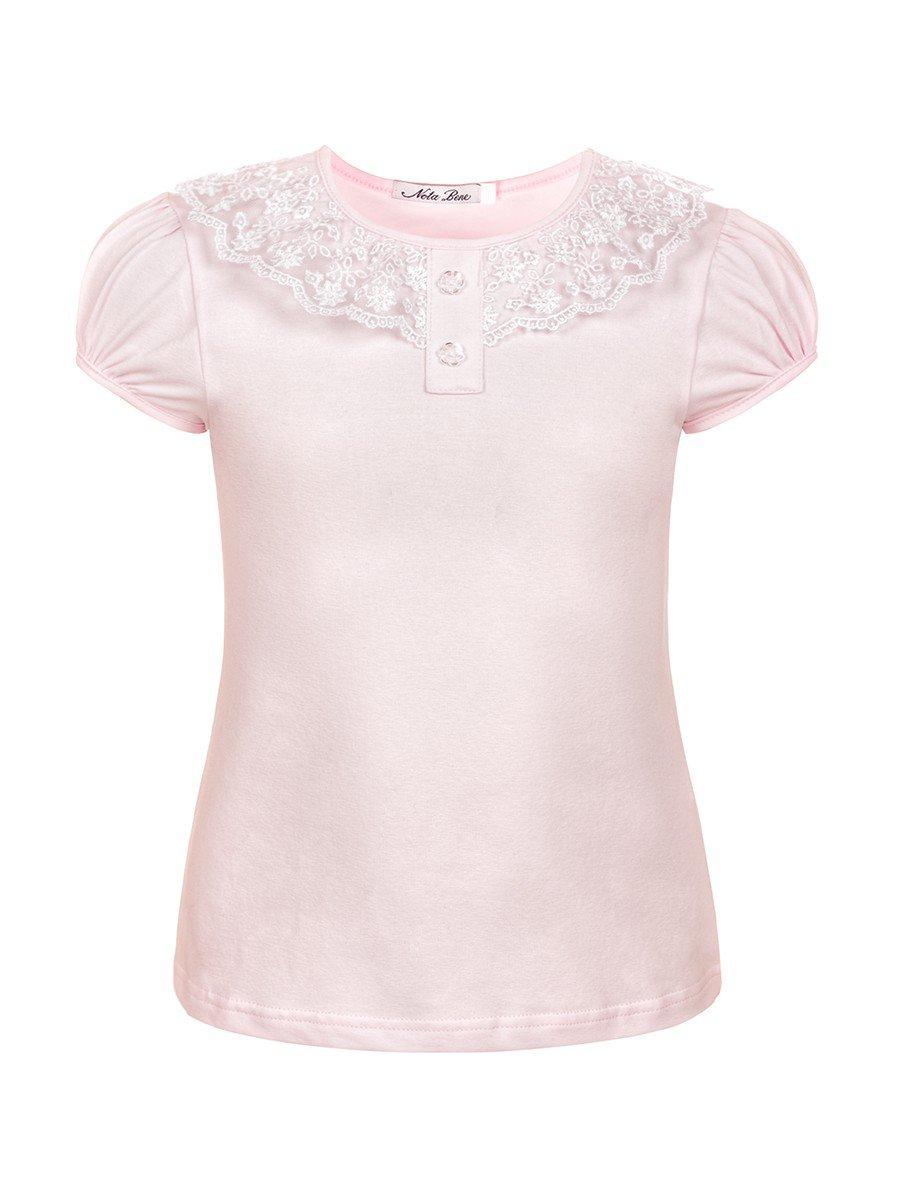 Блуза для девочки с кружевной тесьмой, цвет: светло-розовый