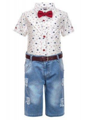 Комплект для мальчика: рубашка с бабочкой и джинсовые шорты с ремнем