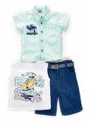 Комплект для мальчика: рубашка, футболка и шорты с ремнем