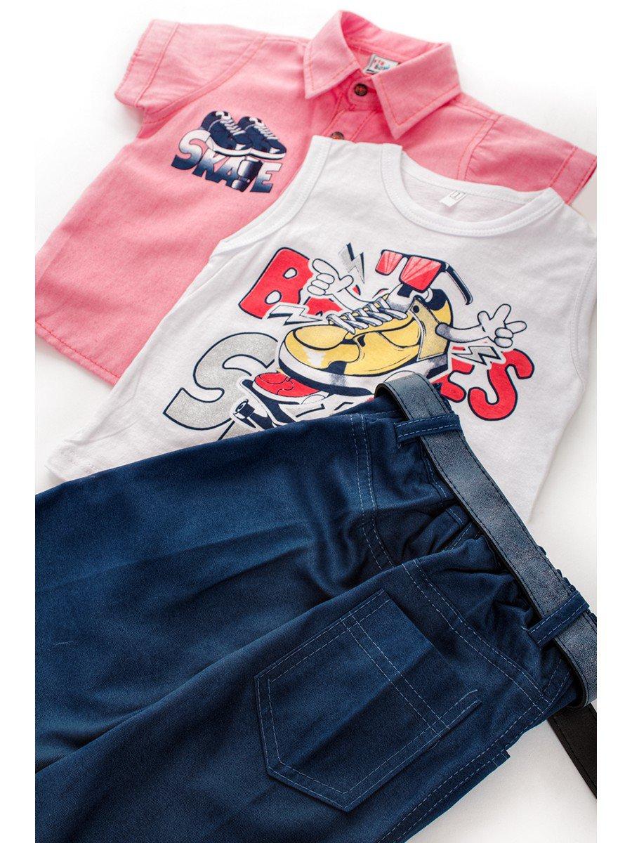 Комплект для мальчика: рубашка, футболка и шорты с ремнем, цвет: розовый