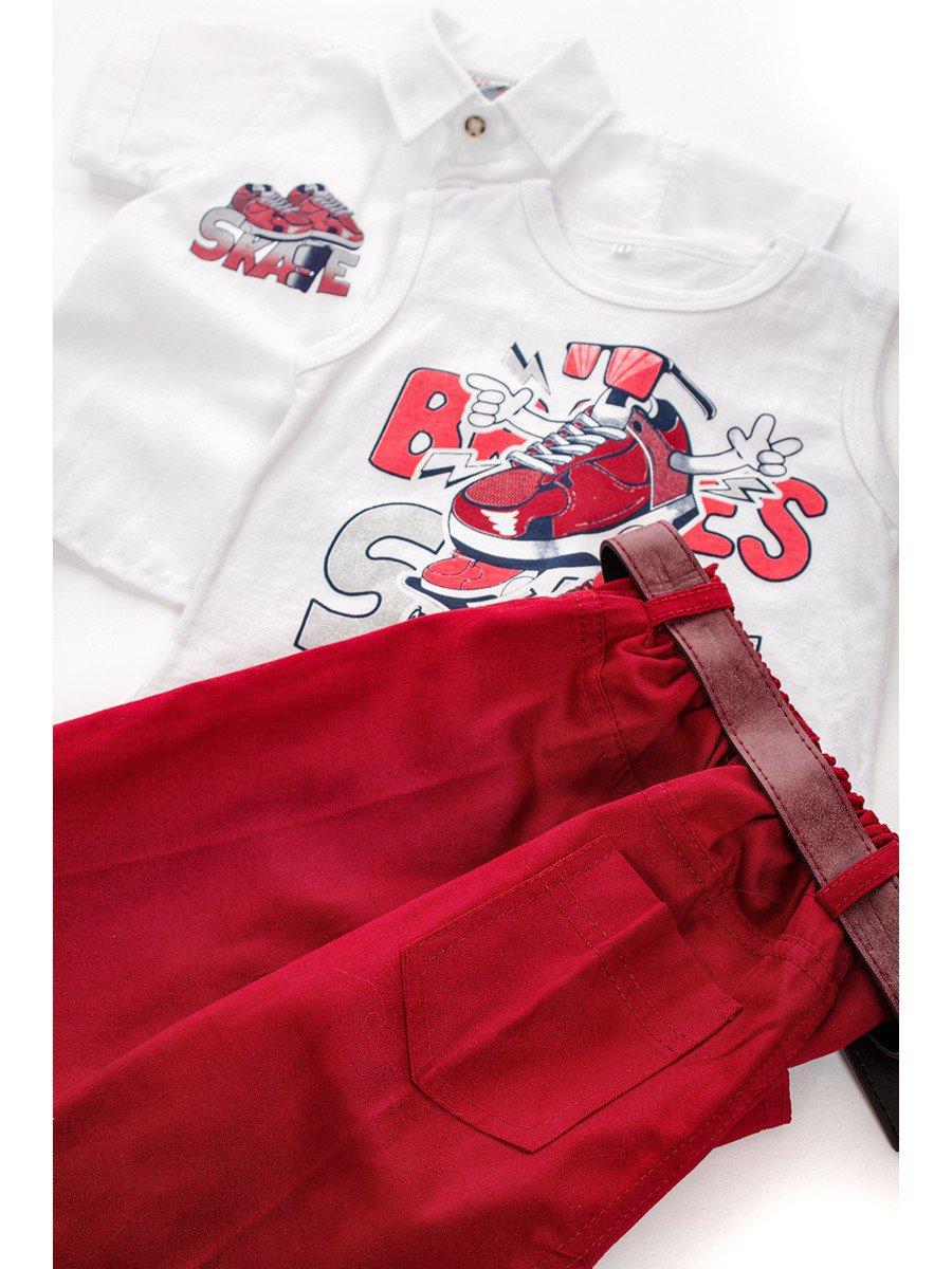 Комплект для мальчика: рубашка, футболка и шорты с ремнем, цвет: белый