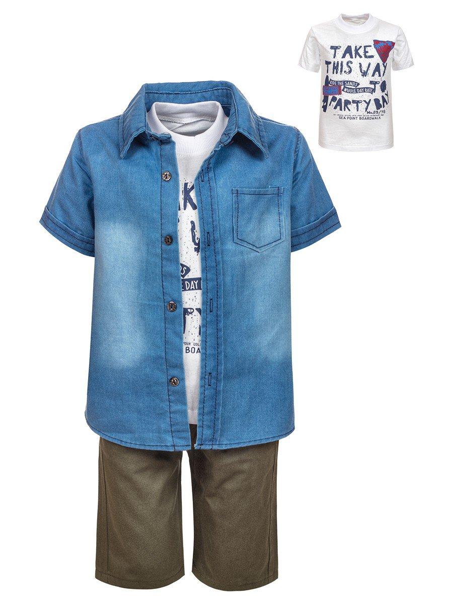 Комплект для мальчика: джинсовая рубашка, футболка и шорты, цвет: хаки