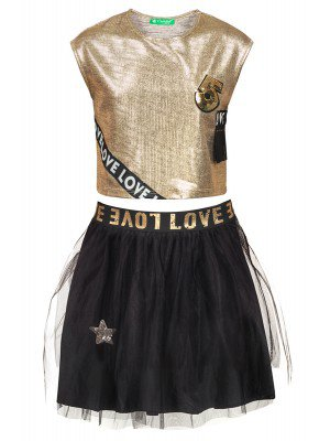 Комплект для девочки: топ и юбка из сетки, на подкладке.Отделка пайетки