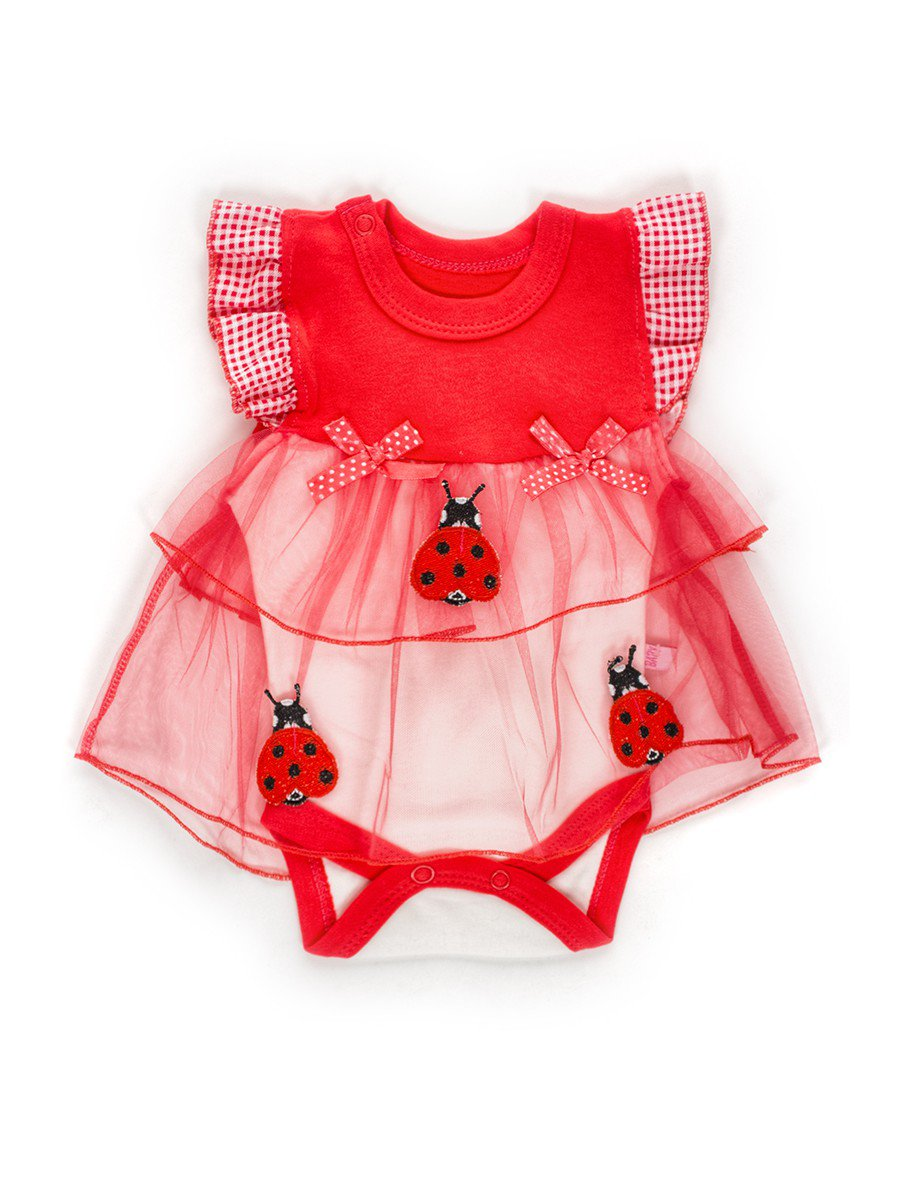 Боди с юбкой из сетки для девочки, цвет: коралловый