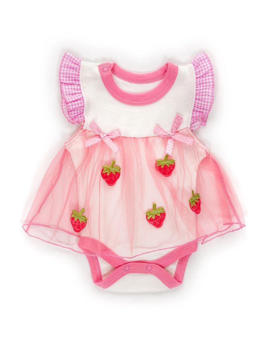 Боди с юбкой из сетки для девочки, цвет: розовый