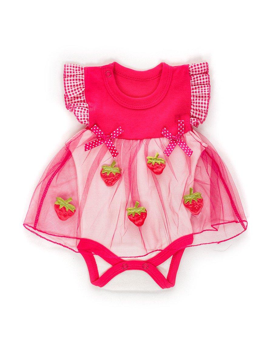 Боди с юбкой из сетки для девочки, цвет: малиновый