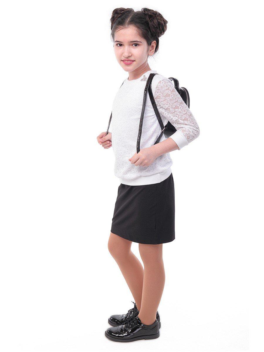 Блузка трикотажная для девочки, цвет: белый