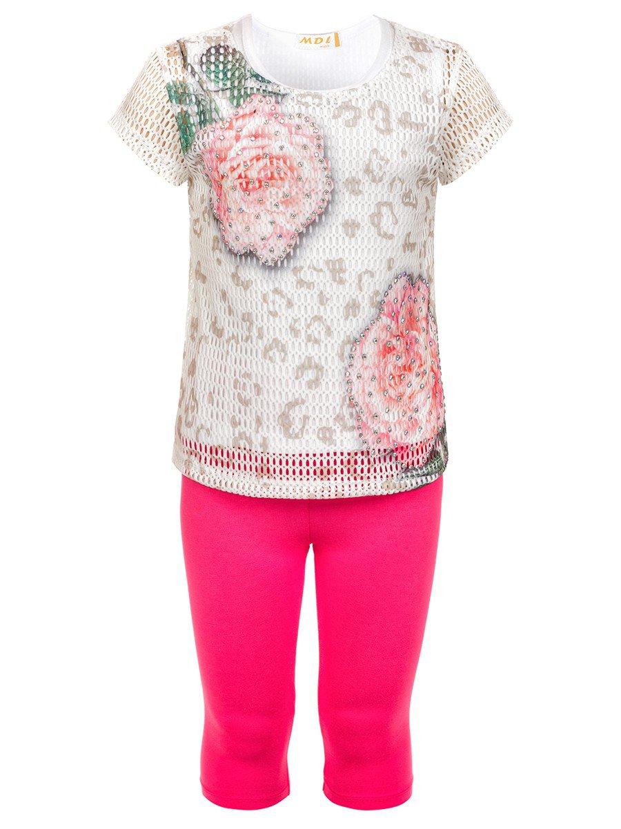 Комплект для девочки: топ,туника из сетки и лосины, отделка стразы, цвет: малиновый