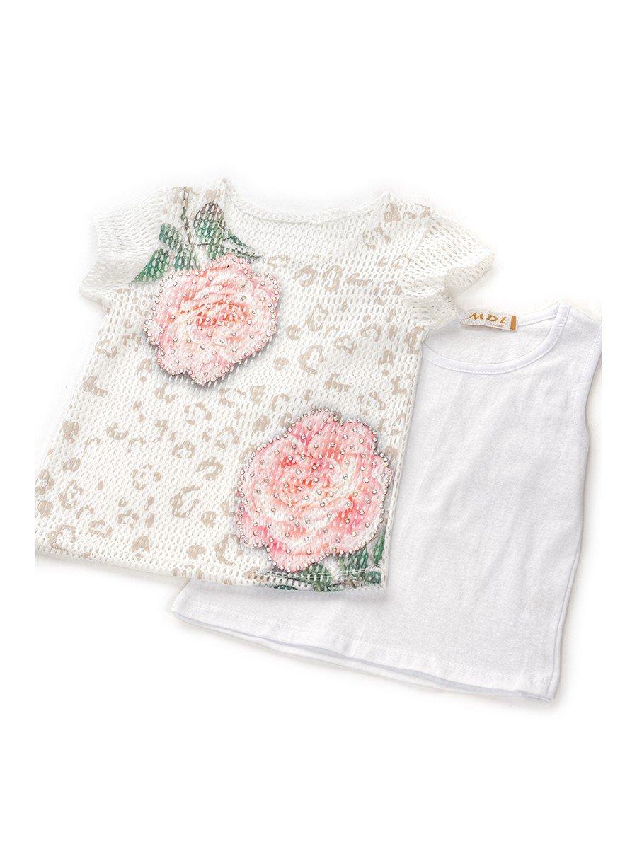 Комплект для девочки: топ,туника из сетки и лосины, отделка стразы, цвет: светло-розовый