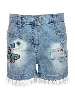 Шорты джинсовые для девочки с вышивкой