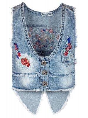 Жилет джинсовый для девочки с вышивкой