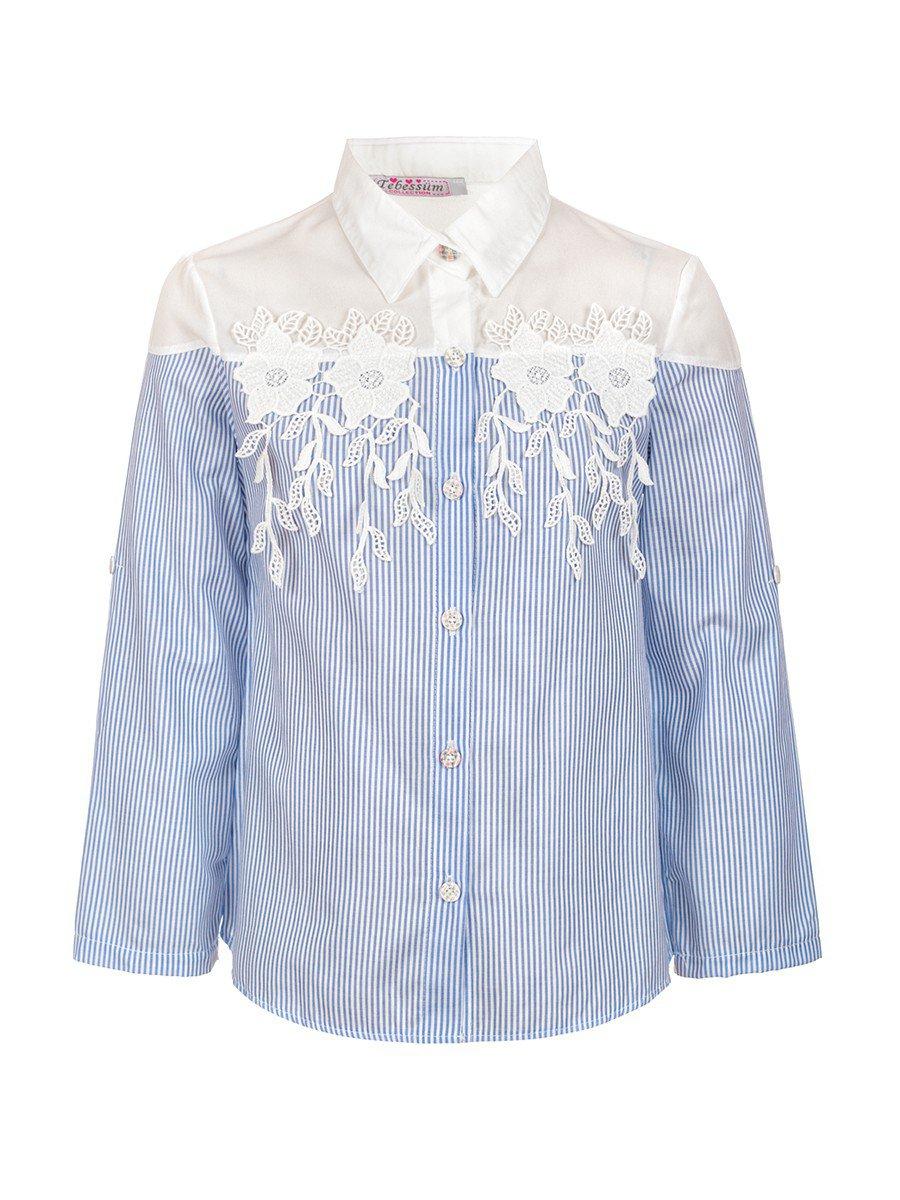 Блузка для девочки приталенная, цвет: голубой
