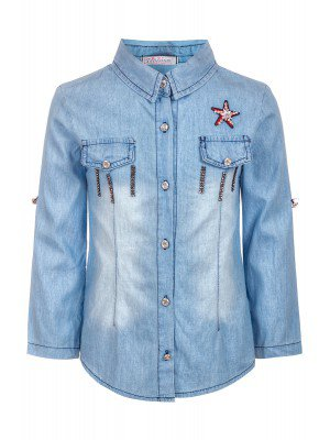Рубашка для девочки джинсовая,приталенная, отделка стразы