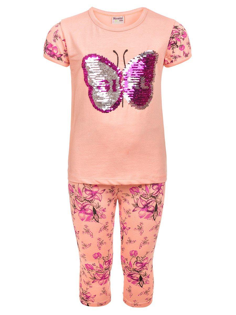 Комплект для девочки:туника и лосины декорированы двусторонними пайетками, цвет: пудра