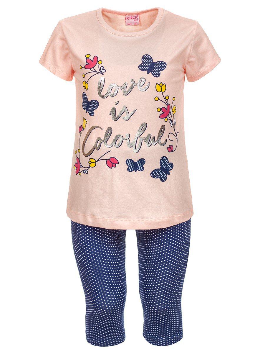Комплект для девочки: футболка и лосины, цвет: пудра