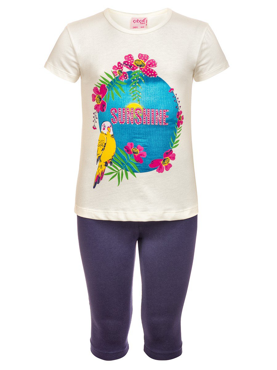 Комплект для девочки: футболка и лосины, цвет: молочный