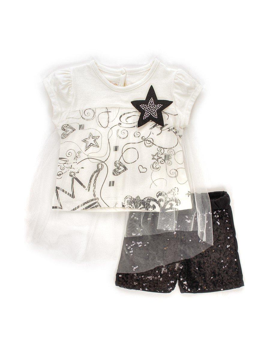 Комплект для девочки: футболка с сеткой и шорты с пайетками, цвет: молочный