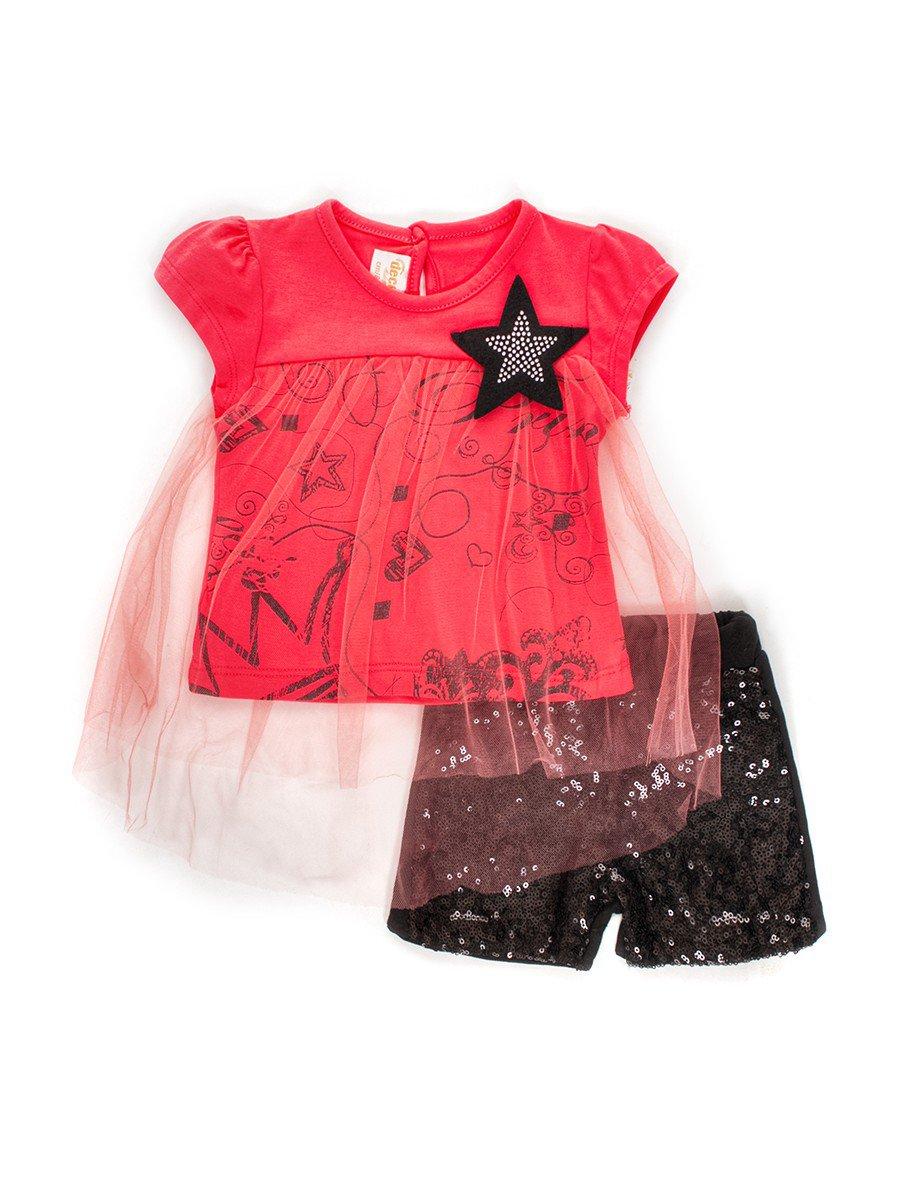 Комплект для девочки: футболка с сеткой и шорты с пайетками, цвет: коралловый