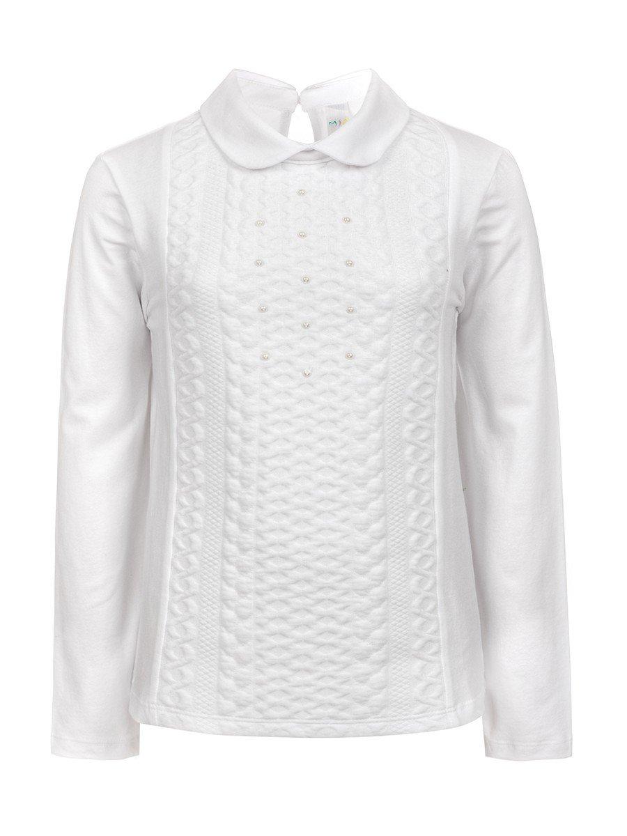 Блузка для девочки отделка бусины, цвет: белый