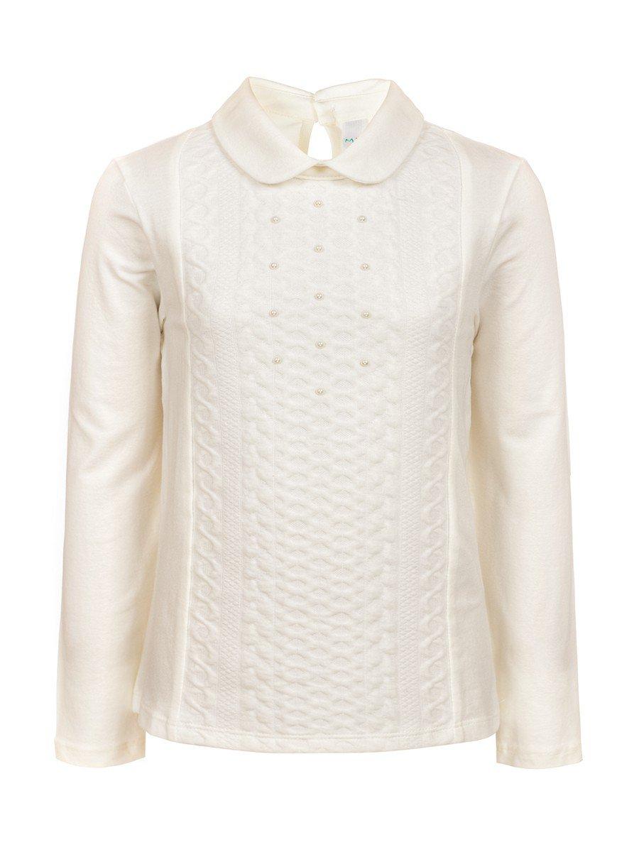 Блузка для девочки отделка бусины, цвет: молочный