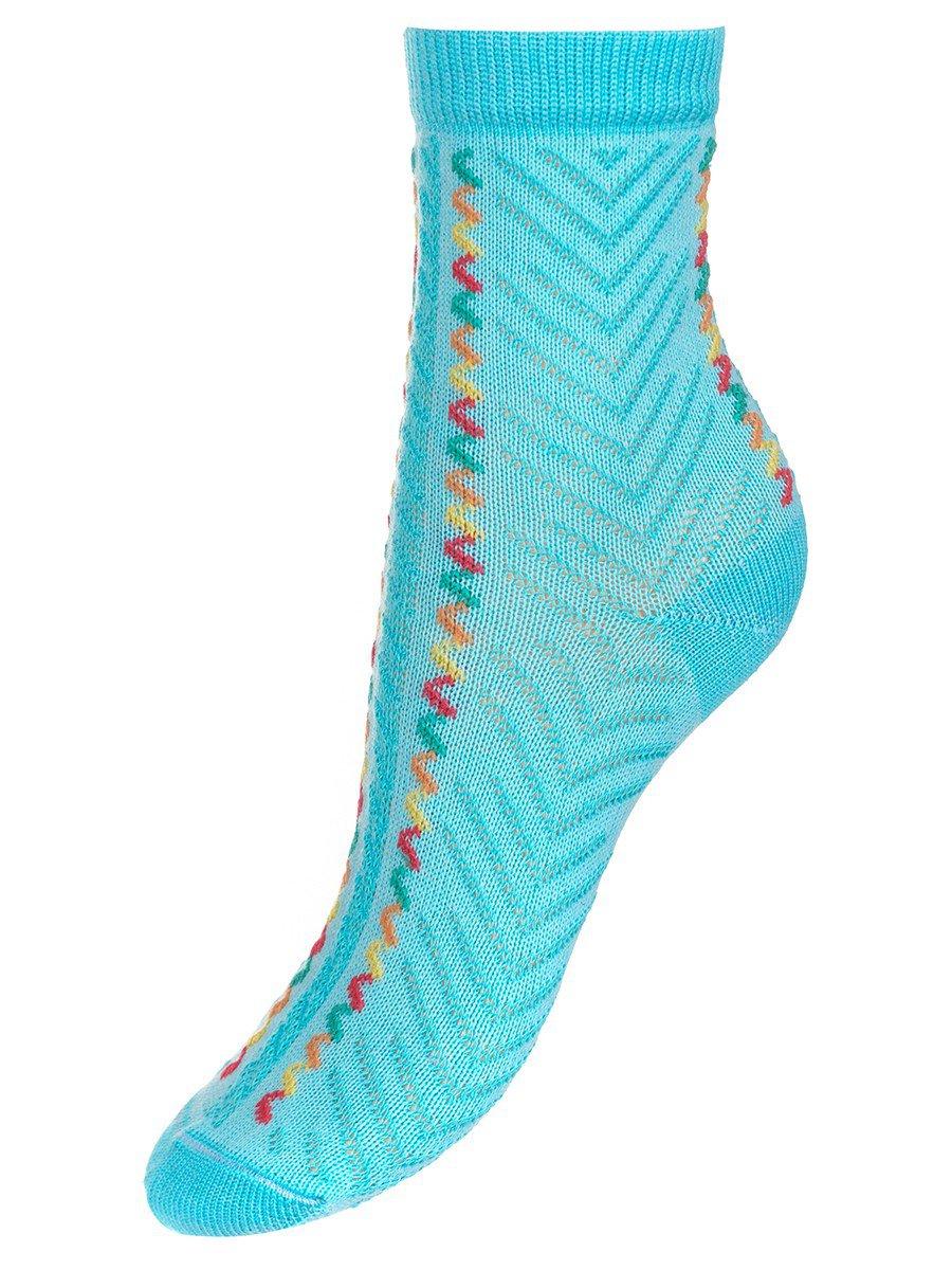 Носки для девочки с двойным бортом, цвет: бирюзовый
