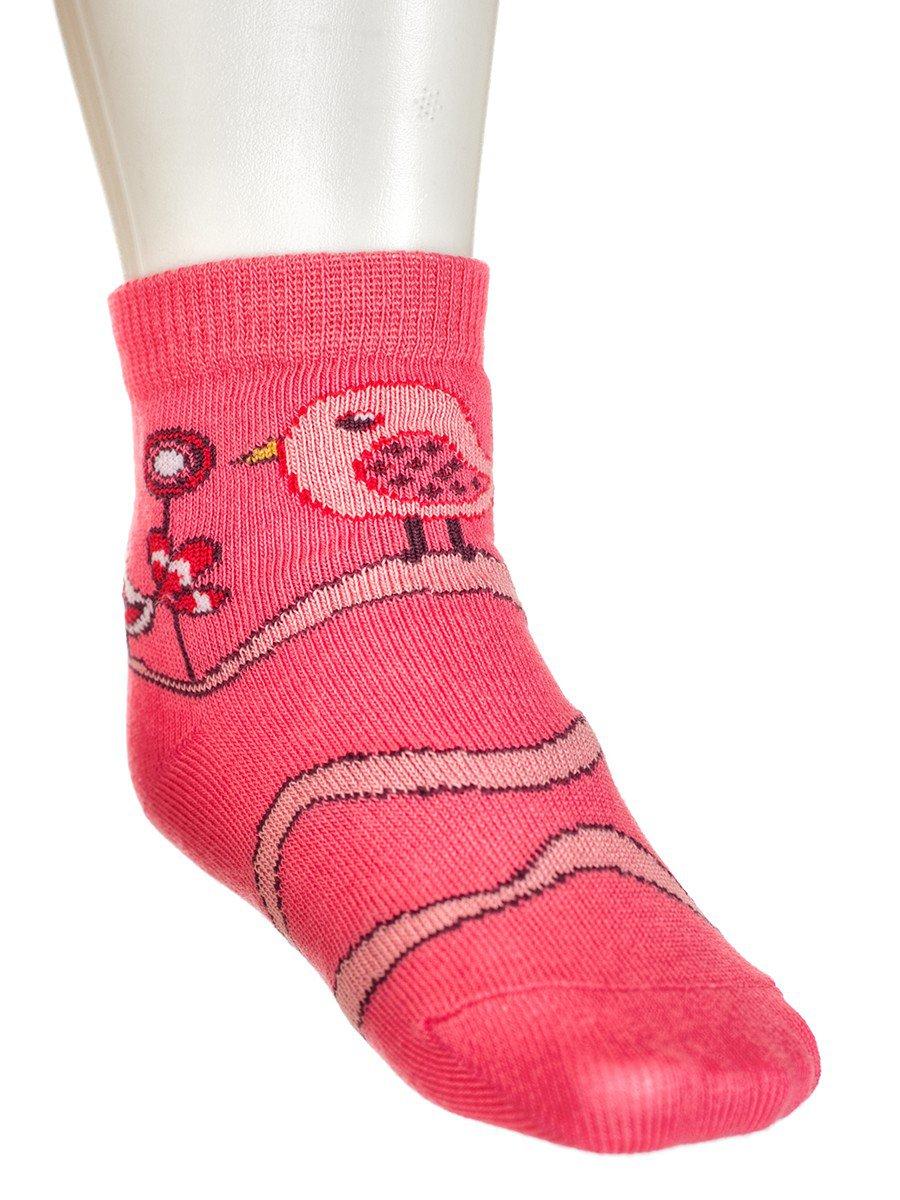Носки для девочки, двойной борт, цвет: коралловый