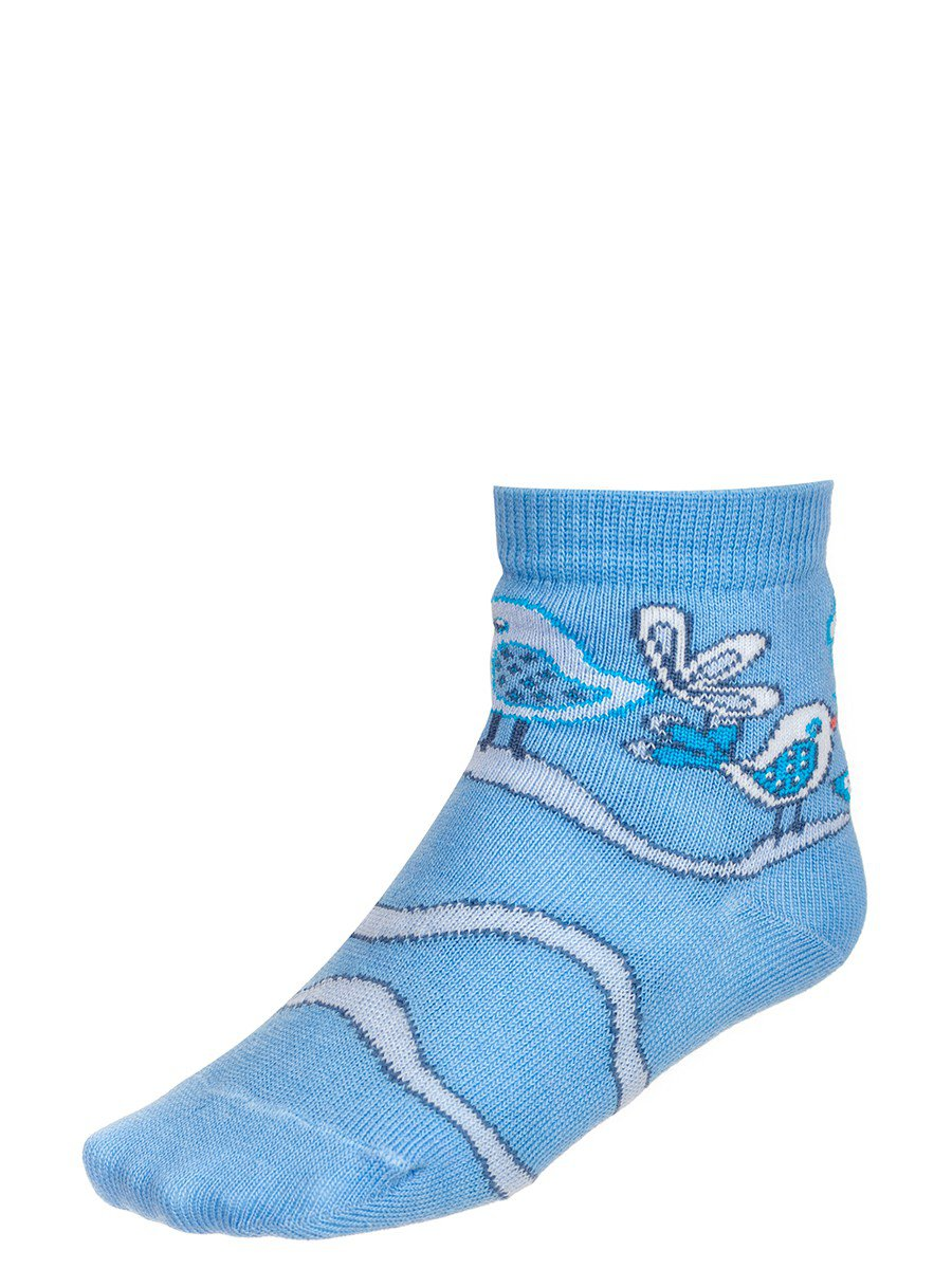 Носки для девочки, двойной борт, цвет: голубой