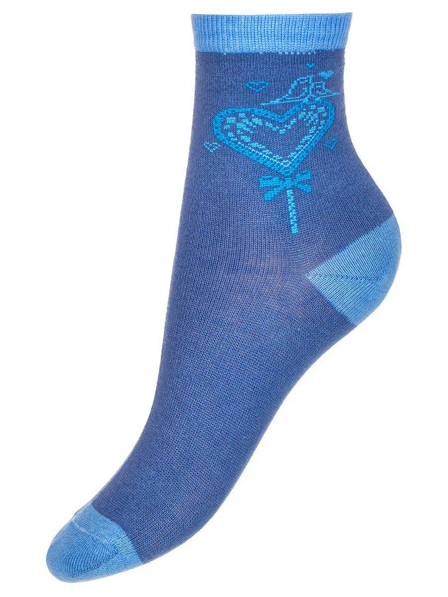 Носки для девочки, двойной борт, цвет: деним