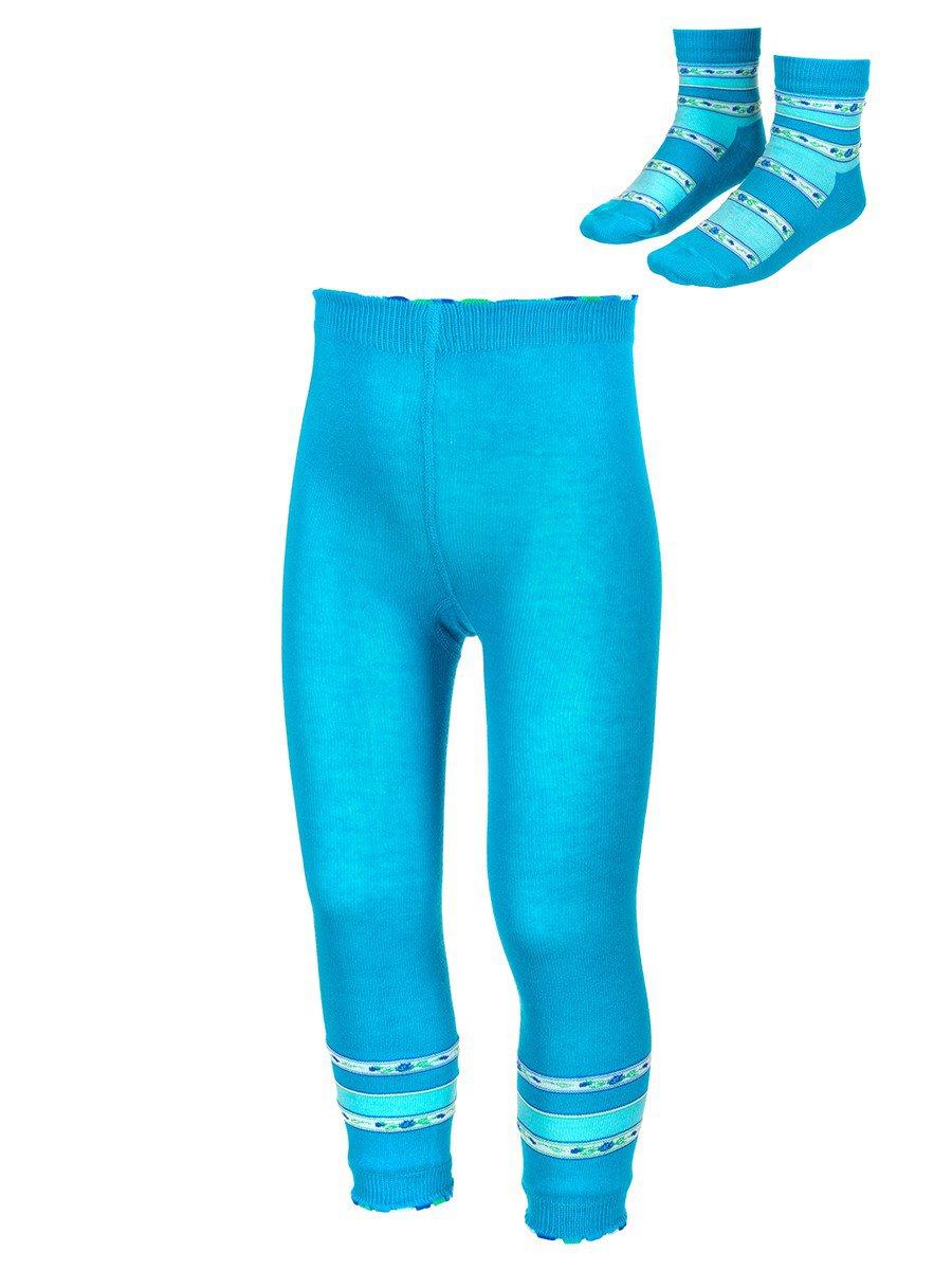 Комплект:леггинсы и носки, цвет: бирюзовый