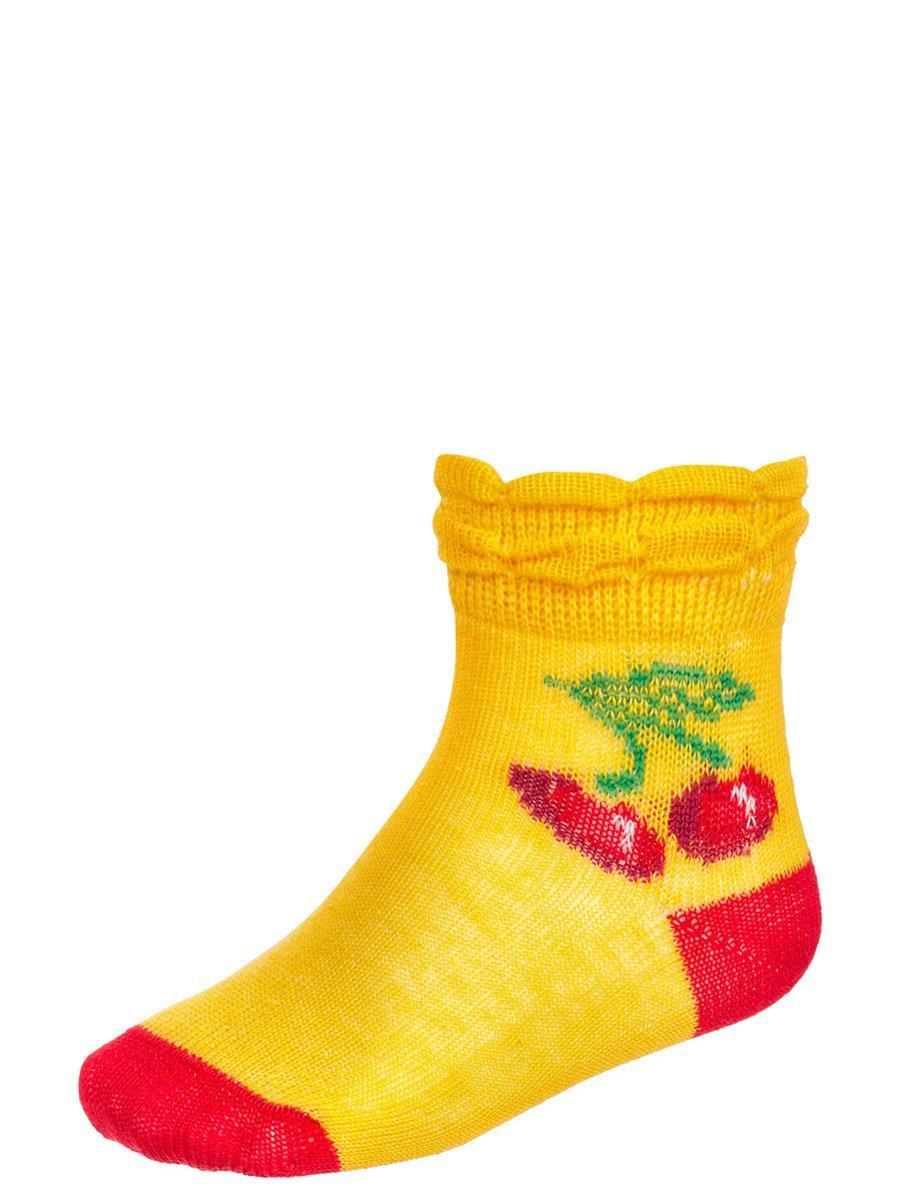 Носки для девочки борт в виде двойной рюши, цвет: желтый