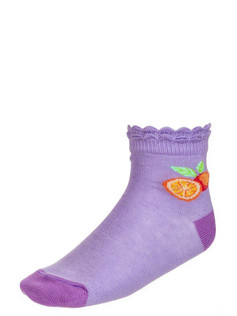 Носки для девочки борт в виде двойной рюши, цвет: сиреневый
