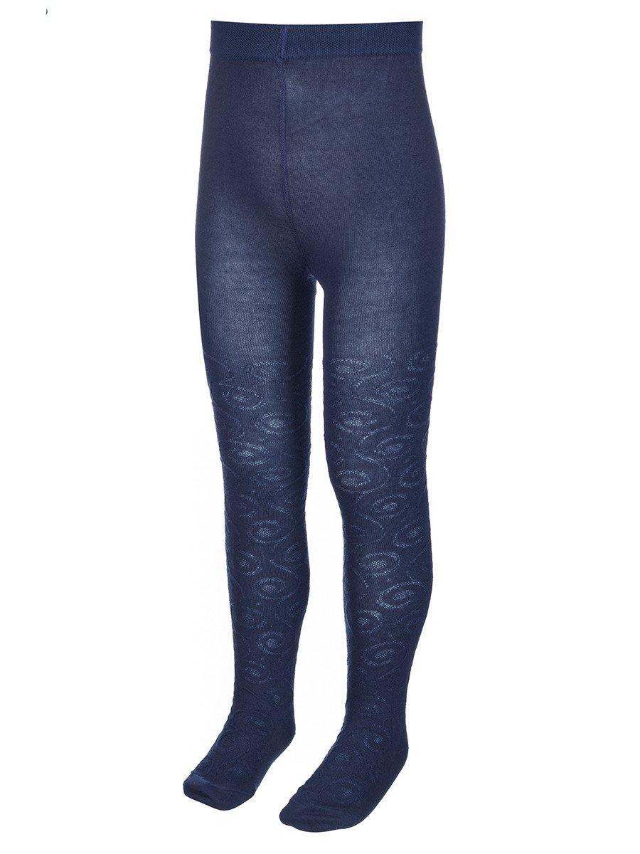 Колготки для девочки с ажурным рисунком по всей длине ножки, цвет: темно-синий