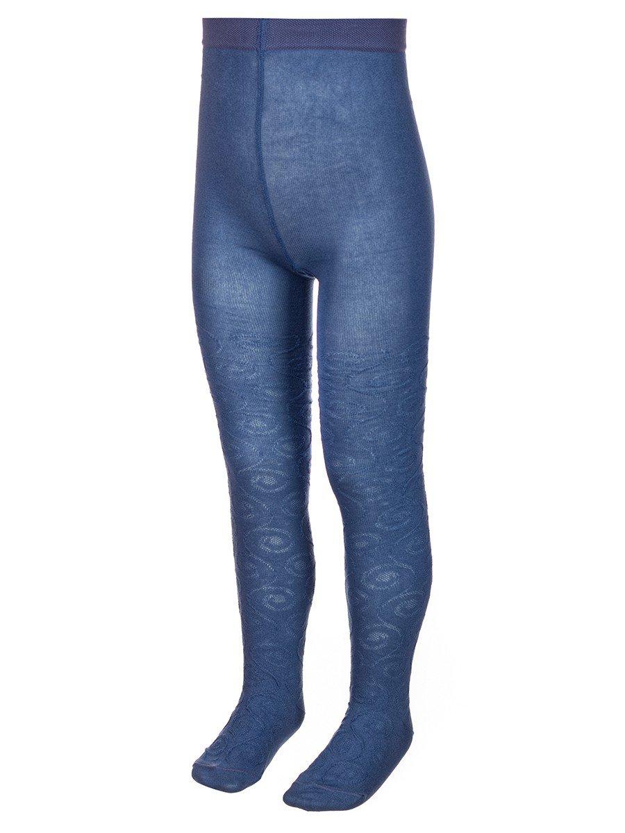 Колготки для девочки с ажурным рисунком по всей длине ножки, цвет: деним