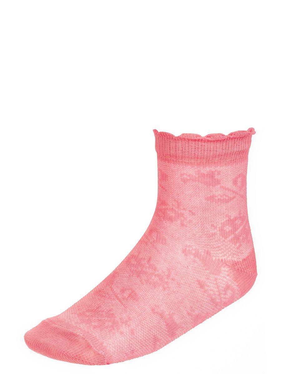 Ажурные носки для девочки, борт пикот, цвет: персиковый