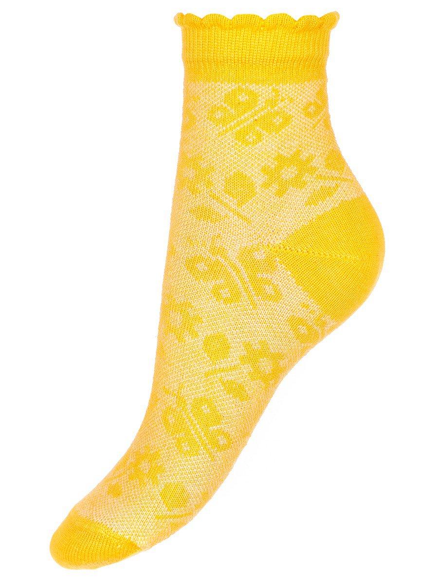 Ажурные носки для девочки, борт пикот, цвет: желтый