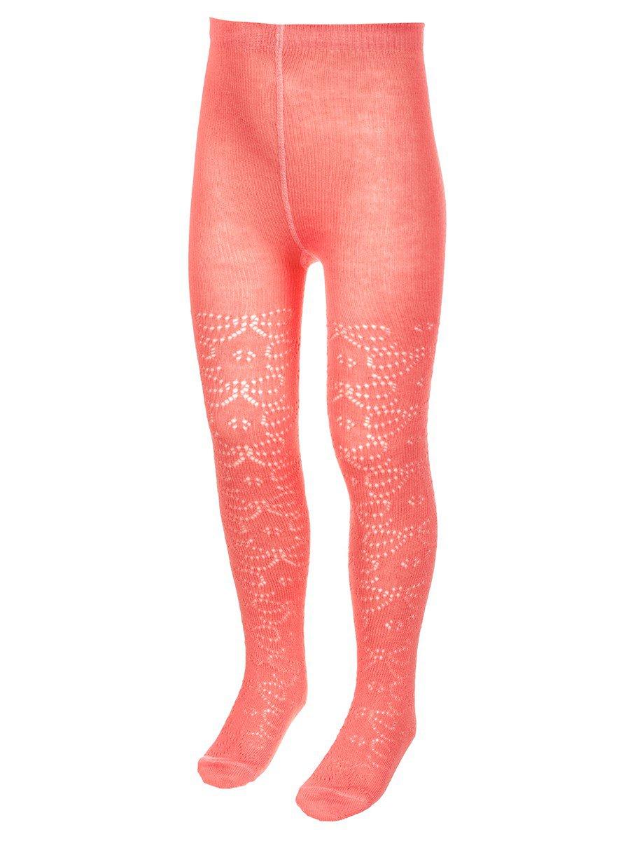 Колготки для девочки с ажурным рисунком по всей длине ножки, цвет: персиковый