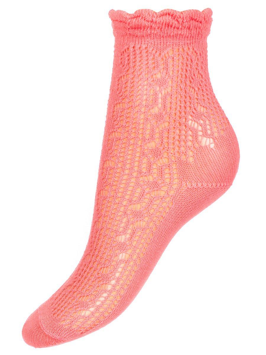Ажурные носки для девочки, цвет: персиковый
