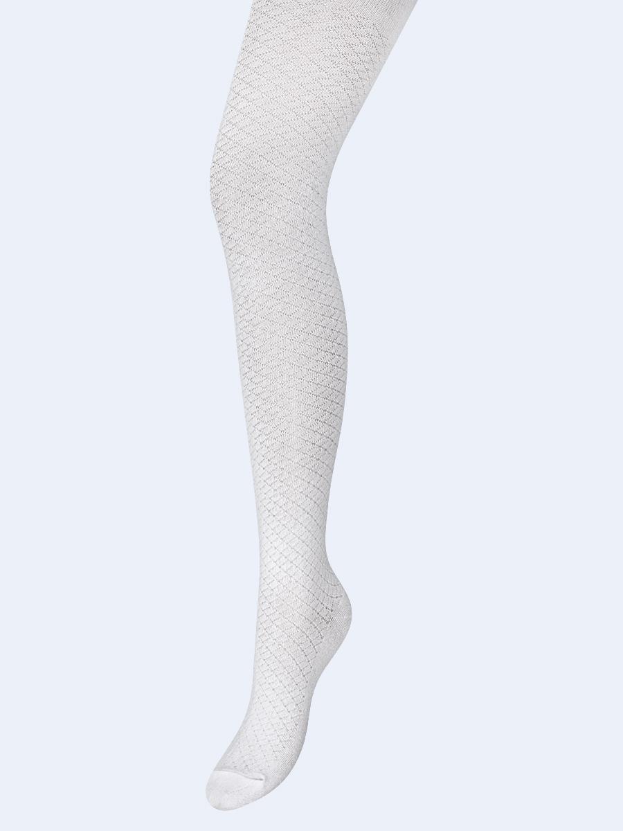 Колготки для девочки, с ажурным геометрическим рисунком, цвет: белый